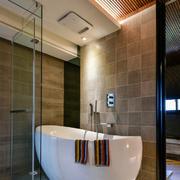 现代风格简约卫生间玻璃隔断装修效果图