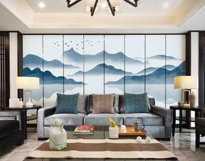 中式风格古典精美客厅背景墙装修效果图