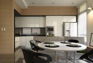 现代风格公寓开放式厨房餐厅装修效果图