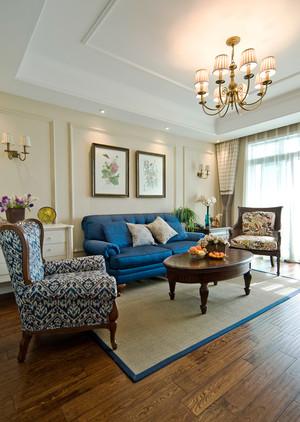 127平米美式风格精致素雅三室两厅室内设计装修效果图