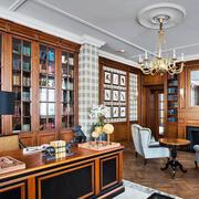美式风格精致大户型书房设计装修效果图