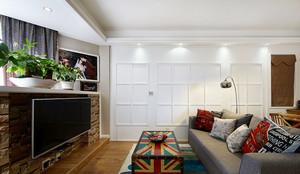 97平米美式田园风格精致三室两厅婚房装修效果图