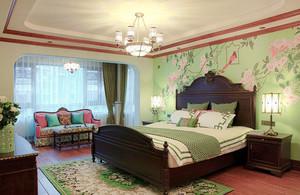 美式混搭风格精美卧室背景墙装修效果图