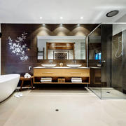 新中式风格大户型卫生间设计装修效果图