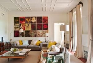 混搭风格时尚创意客厅背景墙装修效果图赏析