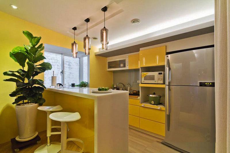 现代简约小户型开放式厨房吧台装修效果图