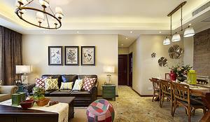119平米美式风格古典三室两厅室内装修效果图案例