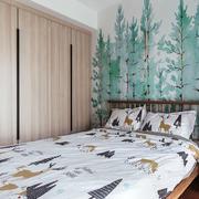 宜家风格清新时尚卧室背景墙装修效果图