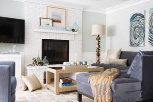 地中海风格精致别墅客厅壁炉装修效果图