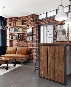 54平米后现代风格工业风单身公寓装修效果图