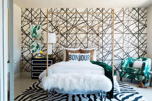 后现代风格时尚精美卧室背景墙设计装修图