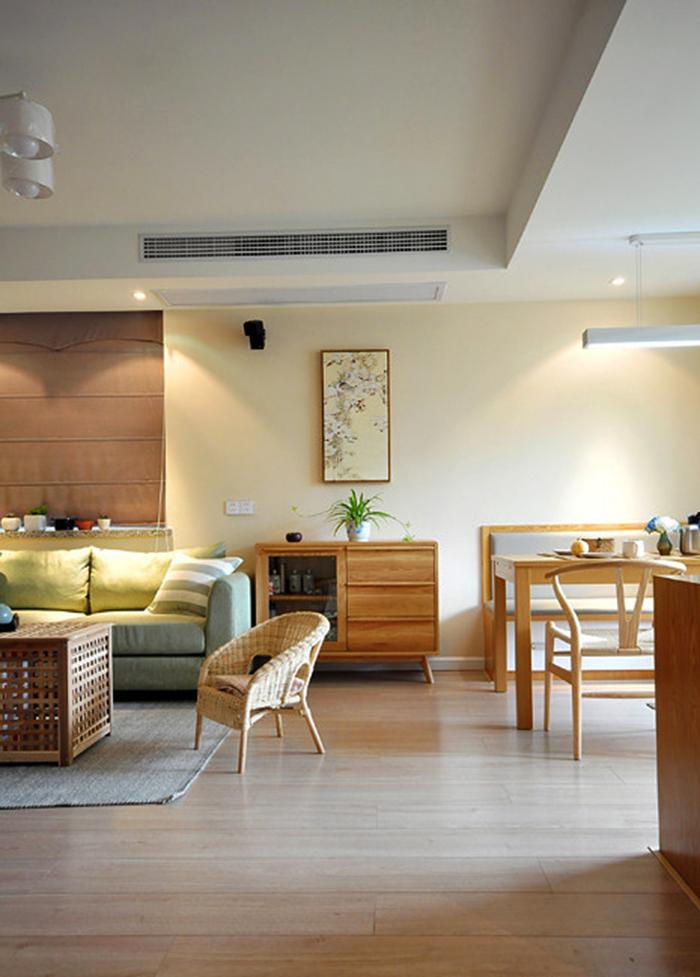 72平米宜家风格清新原木两室两厅室内装修效果图