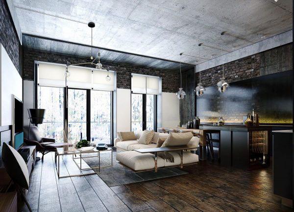 76平米后现代风格工业风公寓装修效果图赏析