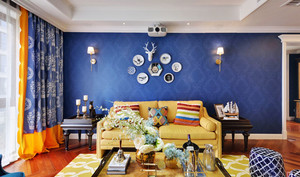 混搭风格时尚客厅背景墙装修效果图赏析
