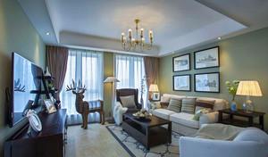 109平米美式风格精装三室两厅室内装修效果图