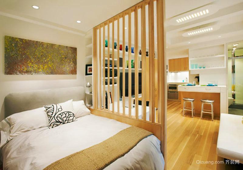 现代风格原木色精美卧室隔断装修效果图