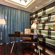 中式风格古典精致书房书架装修效果图