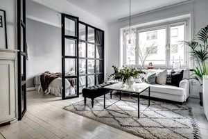 北欧风格黑白色精致单身公寓装修效果图