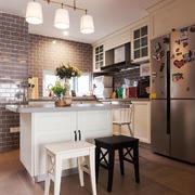 欧式风格精装开放式厨房吧台装修效果图