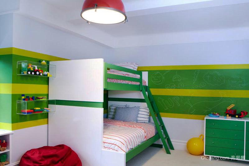 现代简约风格活力绿色儿童房装修实景图