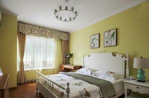 欧式田园风格温暖黄色卧室装修效果图