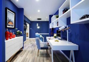 地中海风格蓝色简约书房设计装修效果图
