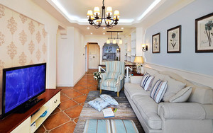 田园风格大户型精美客厅设计装修效果图
