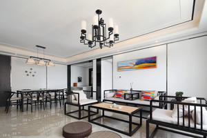 新中式风格简装客厅设计装修效果图
