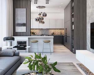 59平米现代简约风格单身公寓装修效果图案例