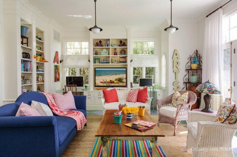 混搭风格时尚清新客厅设计装修实景图
