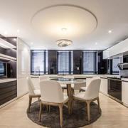 现代风格大户型精致开放式厨房餐厅装修效果图