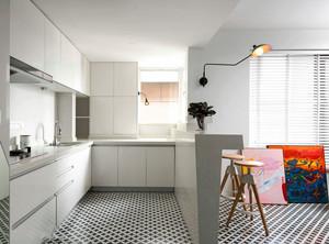 现代简约风格小户型开放式厨房装修效果图