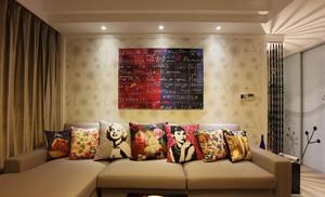 76平米现代简约风格时尚两室两厅室内装修效果图