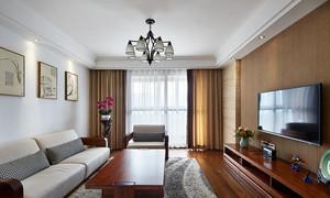 88平米新中式风格精装两室两厅室内设计装修效果图