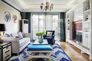地中海风格清新蓝色客厅设计装修效果图赏析