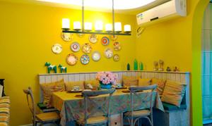 混搭风格明亮黄色精美餐厅卡座装修效果图