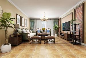 美式风格大户型复古客厅设计装修效果图