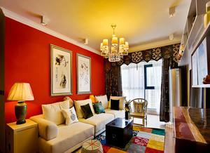 中式混搭风格时尚三室两厅室内装修效果图