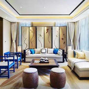中式风格清新素雅客厅屏风装修效果图