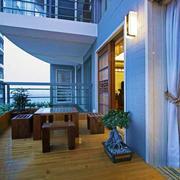 中式风格休闲露天阳台设计装修效果图赏析