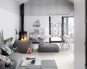 北欧风格清新loft公寓装修效果图案例