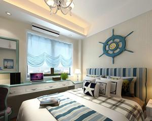 地中海风格清新蓝色卧室装修效果图