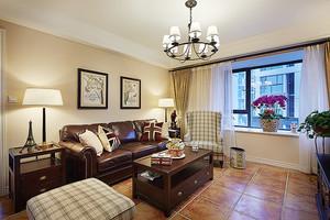 107平米美式风格精装两室两厅一卫装修效果图