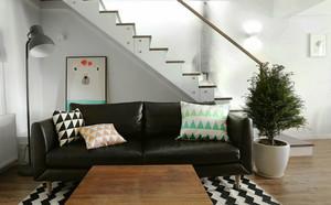 北欧风格简约复式楼客厅装修效果图