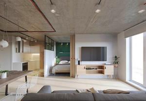 58平米简约风格单身公寓设计装修效果图赏析