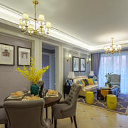 欧式风格大户型精致客厅餐厅装修效果图