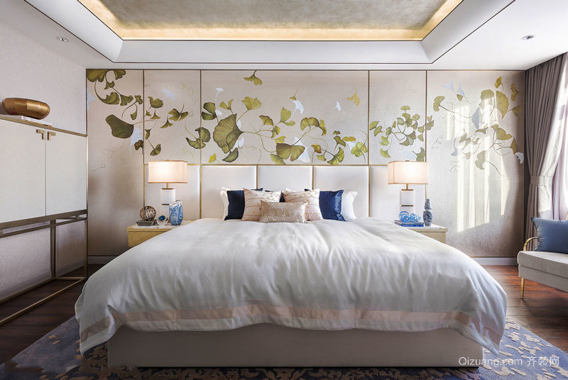 新中式风格大户型精美卧室背景墙装修效果图