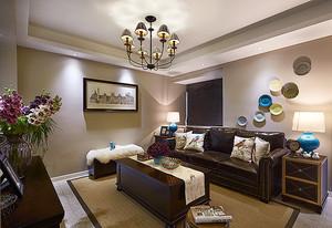 89平米美式风格复古两室两厅一卫装修效果图