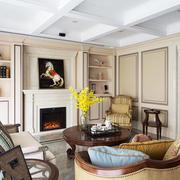 欧式风格别墅室内客厅壁炉设计装修效果图