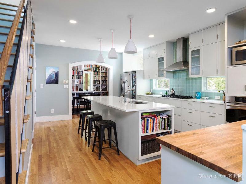 现代风格轻奢精致开放式厨房吧台装修效果图